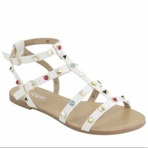 ANINA White 'Rockstuded' Strap Sandals